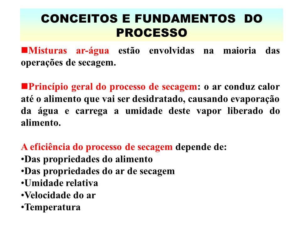 CONCEITOS E FUNDAMENTOS DO PROCESSO Misturas ar-água estão envolvidas na maioria das operações de secagem.