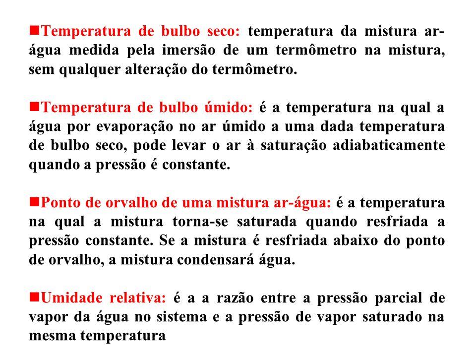 Temperatura de bulbo seco: temperatura da mistura ar- água medida pela imersão de um termômetro na mistura, sem qualquer alteração do termômetro.