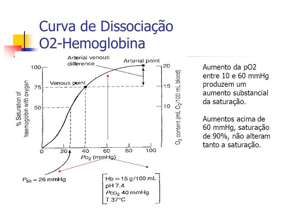Curva de Dissociação O2-Hemoglobina Aumento da pO2 entre 10 e 60 mmHg produzem um aumento substancial da saturação.