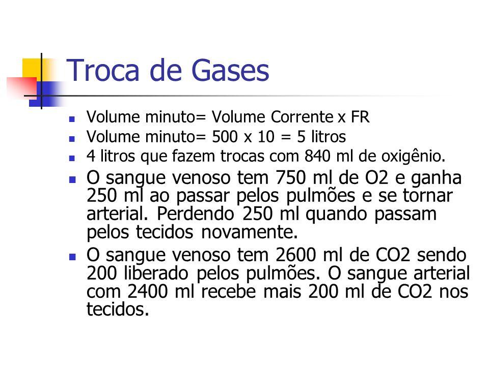 Troca de Gases Volume minuto= Volume Corrente x FR Volume minuto= 500 x 10 = 5 litros 4 litros que fazem trocas com 840 ml de oxigênio.
