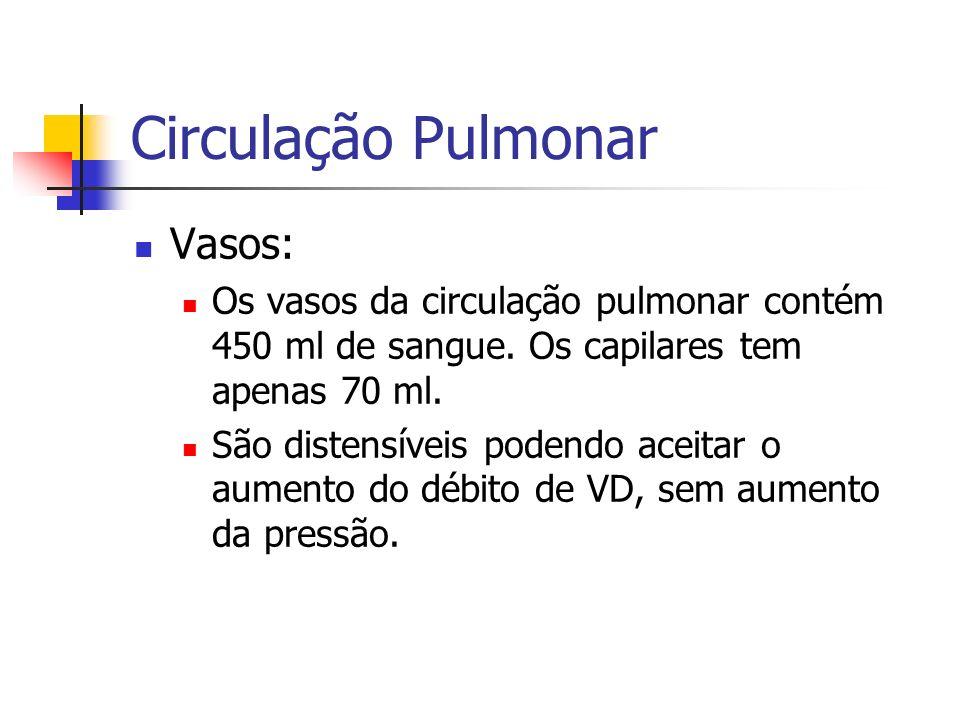 Circulação Pulmonar Vasos: Os vasos da circulação pulmonar contém 450 ml de sangue.
