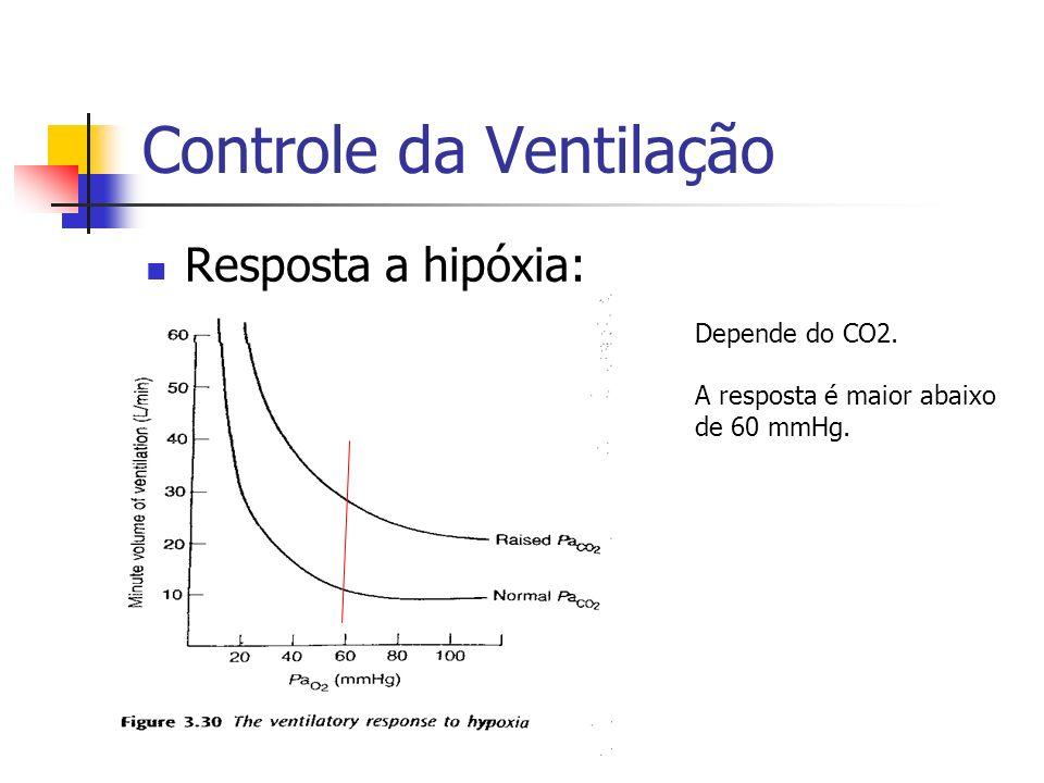 Controle da Ventilação Resposta a hipóxia: Depende do CO2. A resposta é maior abaixo de 60 mmHg.