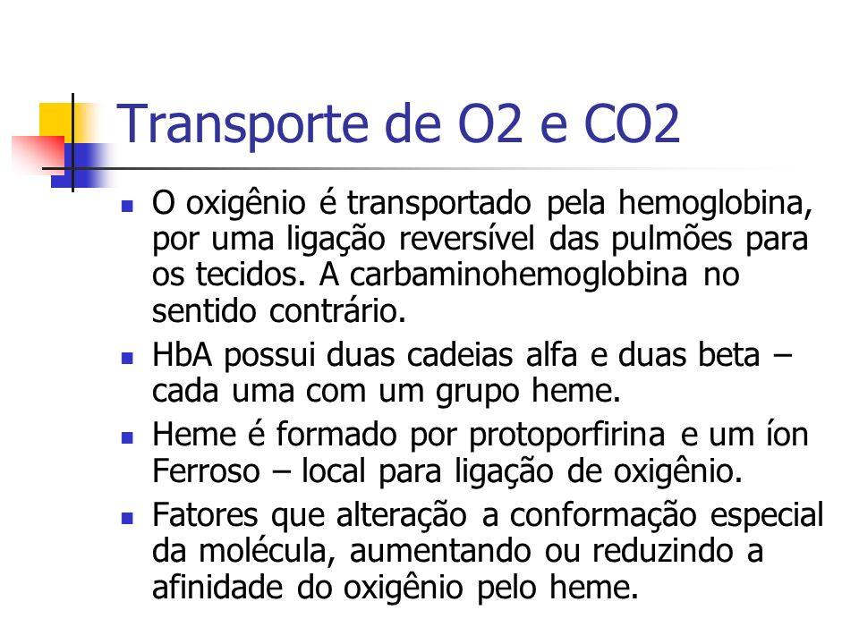 Transporte de O2 e CO2 O oxigênio é transportado pela hemoglobina, por uma ligação reversível das pulmões para os tecidos.