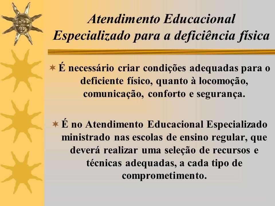 Atendimento Educacional Especializado para a deficiência física É necessário criar condições adequadas para o deficiente físico, quanto à locomoção, comunicação, conforto e segurança.