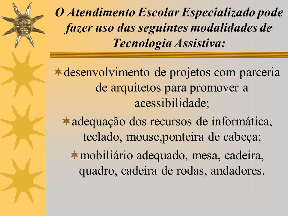 desenvolvimento de projetos com parceria de arquitetos para promover a acessibilidade; adequação dos recursos de informática, teclado, mouse,ponteira de cabeça; mobiliário adequado, mesa, cadeira, quadro, cadeira de rodas, andadores.