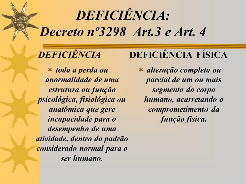DEFICIÊNCIA: Decreto nº3298 Art.3 e Art.