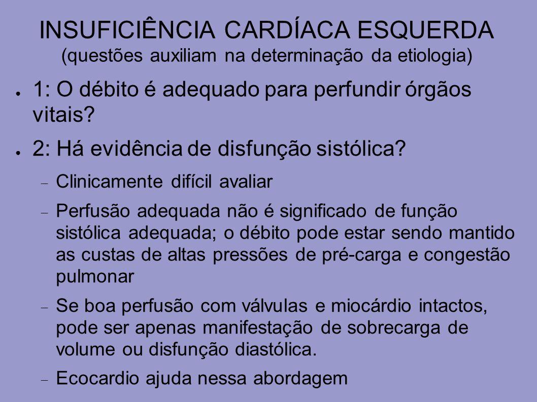 INSUFICIÊNCIA CARDÍACA ESQUERDA (questões auxiliam na determinação da etiologia) 3: Qual o tamanho do VE.