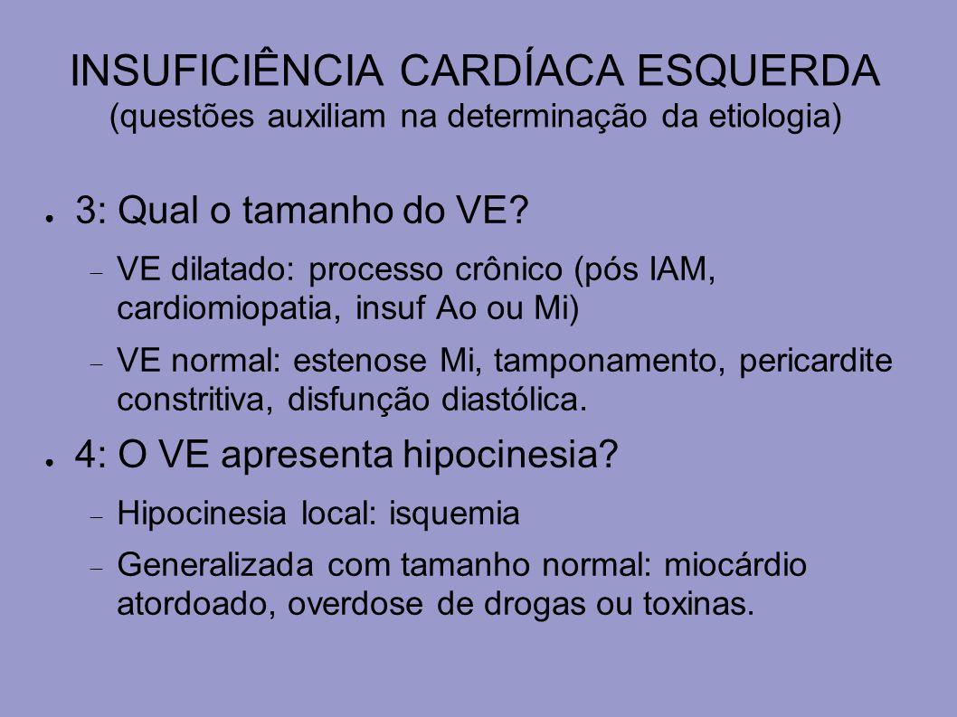 INSUFICIÊNCIA CARDÍACA ESQUERDA (questões auxiliam na determinação da etiologia) 5: Há evidência de disfunção valvular.