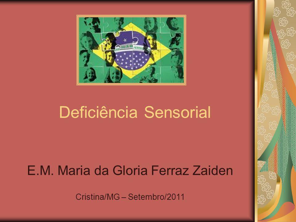 Conceito A deficiência sensorial se caracteriza pelo não funcionamento (total ou parcial) de um dos cincos sentidos Surdez Cegueira Déficit de tato Déficit de olfato Déficit de paladar