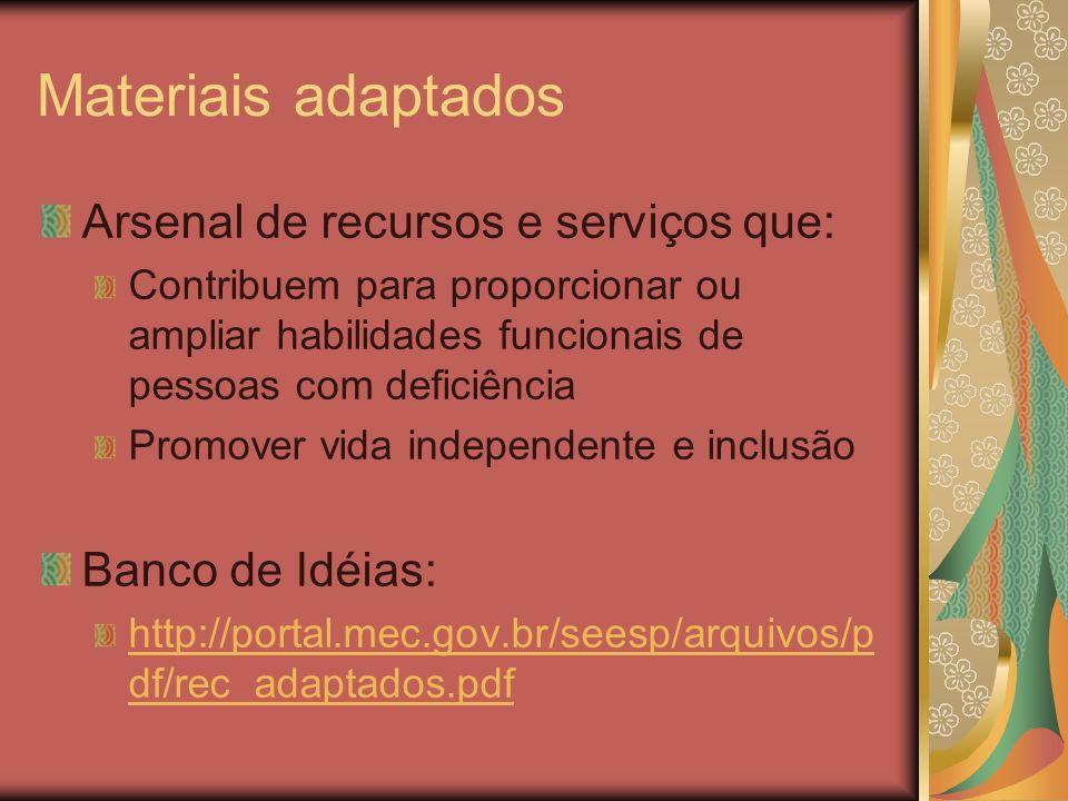 Materiais adaptados Arsenal de recursos e serviços que: Contribuem para proporcionar ou ampliar habilidades funcionais de pessoas com deficiência Prom