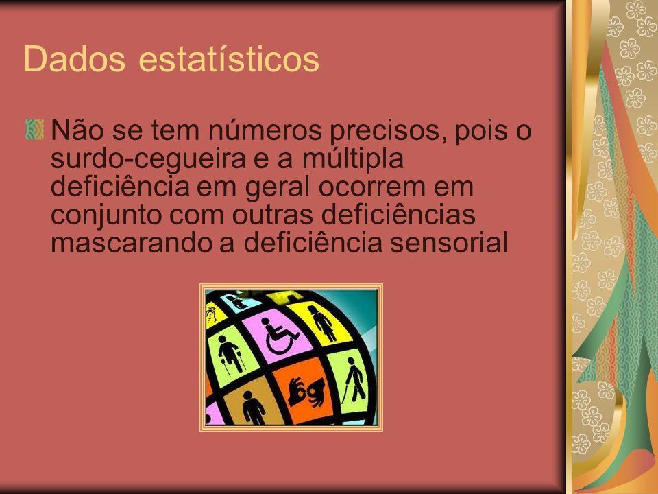Dados estatísticos Não se tem números precisos, pois o surdo-cegueira e a múltipla deficiência em geral ocorrem em conjunto com outras deficiências ma