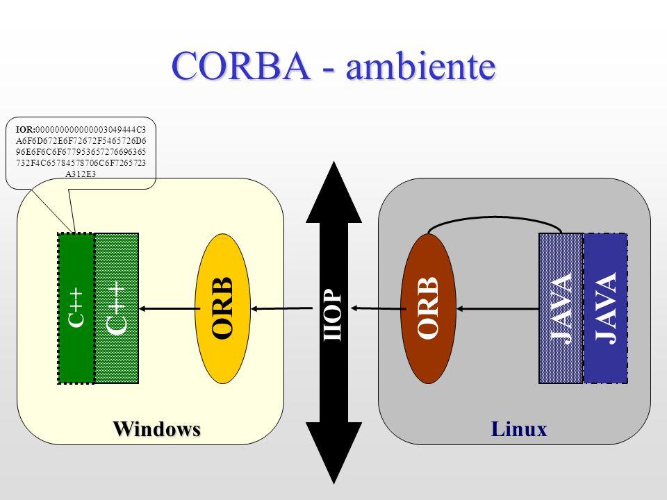 LinuxWindows CORBA - ambiente JAVA ORB IIOP IOR:000000000000003049444C3 A6F6D672E6F72672F5465726D6 96E6F6C6F677953657276696365 732F4C65784578706C6F7265723 A312E3 C++ JAVA