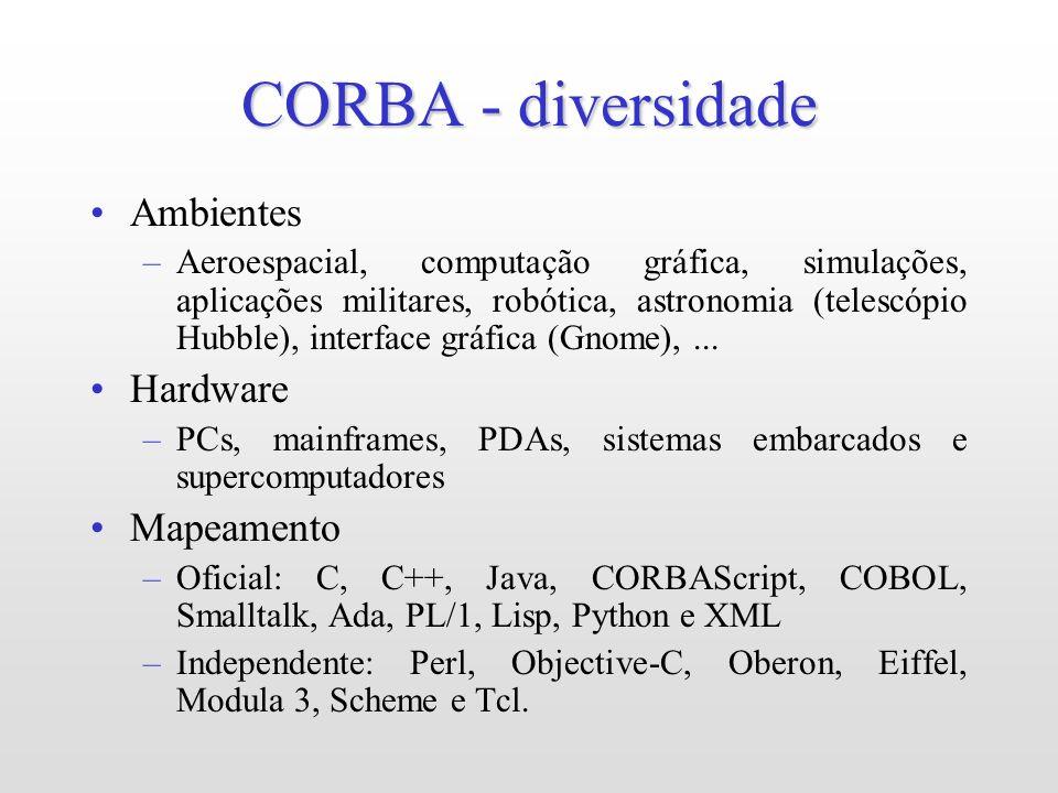 CORBA - diversidade Ambientes –Aeroespacial, computação gráfica, simulações, aplicações militares, robótica, astronomia (telescópio Hubble), interface