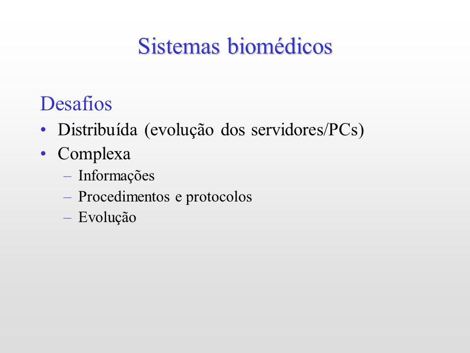 Sistemas biomédicos Desafios Distribuída (evolução dos servidores/PCs) Complexa –Informações –Procedimentos e protocolos –Evolução