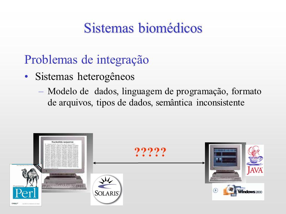Sistemas biomédicos Problemas de integração Sistemas heterogêneos –Modelo de dados, linguagem de programação, formato de arquivos, tipos de dados, semântica inconsistente ?????