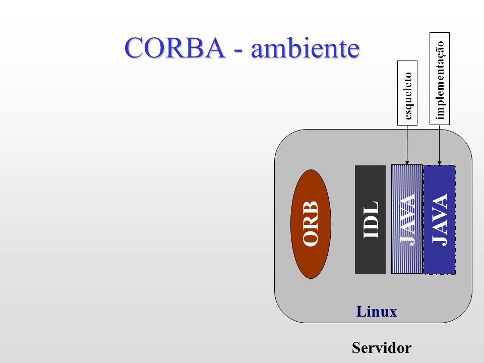 Linux CORBA - ambiente IDL ORB Servidor JAVA esqueleto JAVA implementação