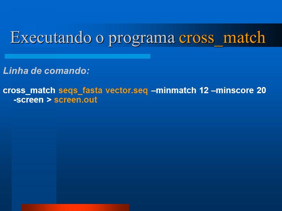 Executando o programa cross_match cross_match seqs_fasta vector.seq –minmatch 12 –minscore 20 -screen > screen.out Linha de comando: