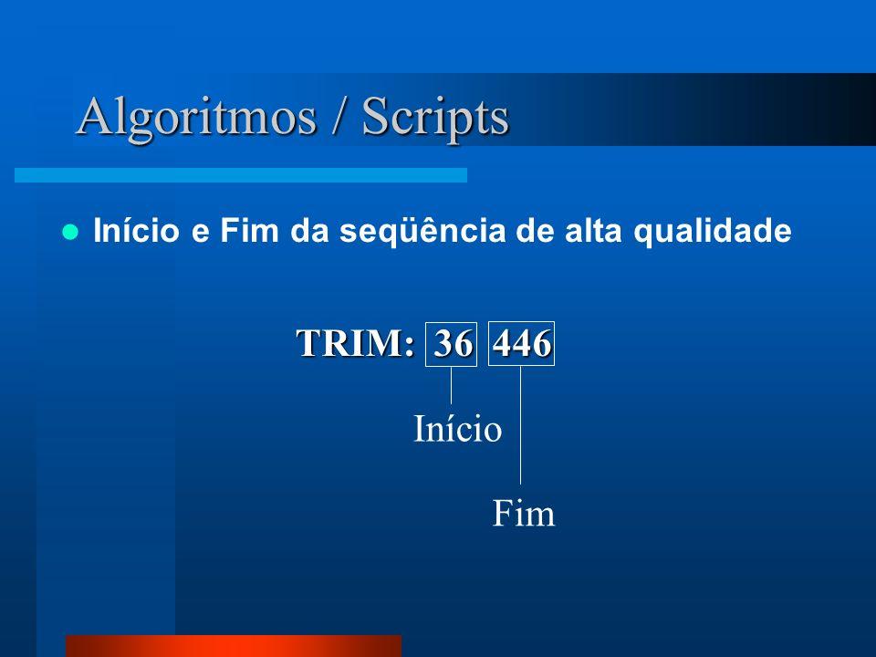 Algoritmos / Scripts Início e Fim da seqüência de alta qualidade TRIM: 36 446 Início Fim