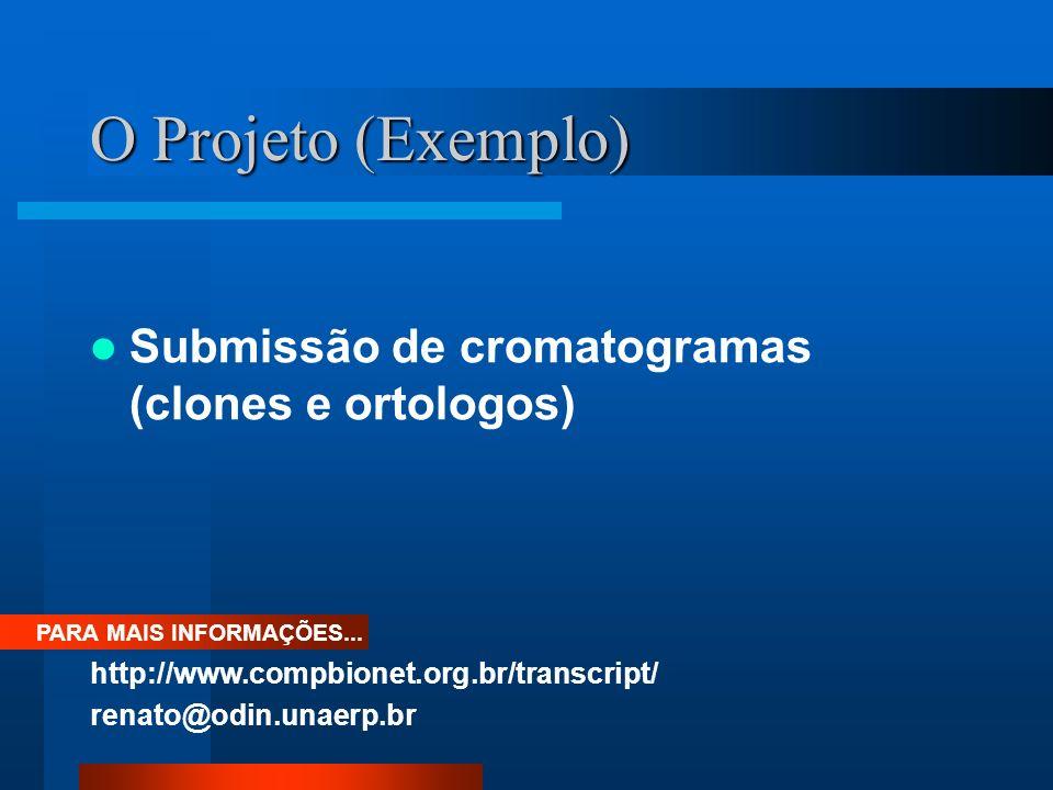 O Projeto (Exemplo) Submissão de cromatogramas (clones e ortologos) PARA MAIS INFORMAÇÕES... http://www.compbionet.org.br/transcript/ renato@odin.unae