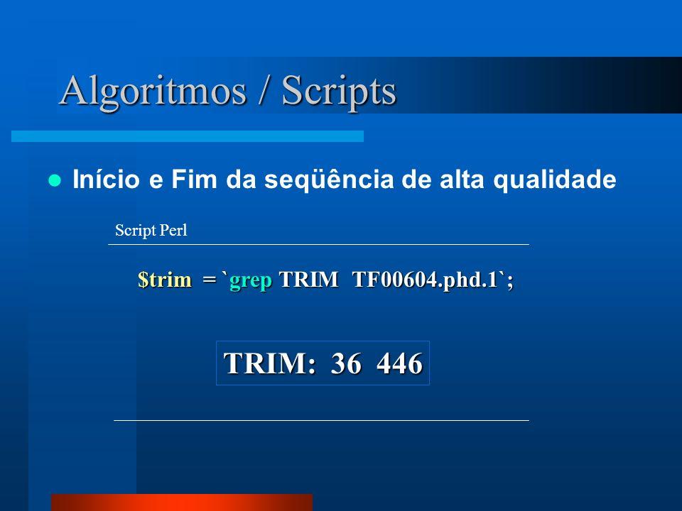 Algoritmos / Scripts $trim = `grep TRIM TF00604.phd.1`; Script Perl Início e Fim da seqüência de alta qualidade TRIM: 36 446