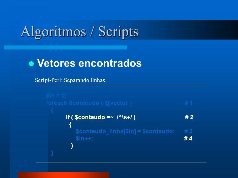 Algoritmos / Scripts Vetores encontrados $ln = 0; foreach $conteudo ( @vector ) # 1 { if ( $conteudo =~ /^\s+/ ) # 2 { $conteudo_linha[$ln] = $conteud
