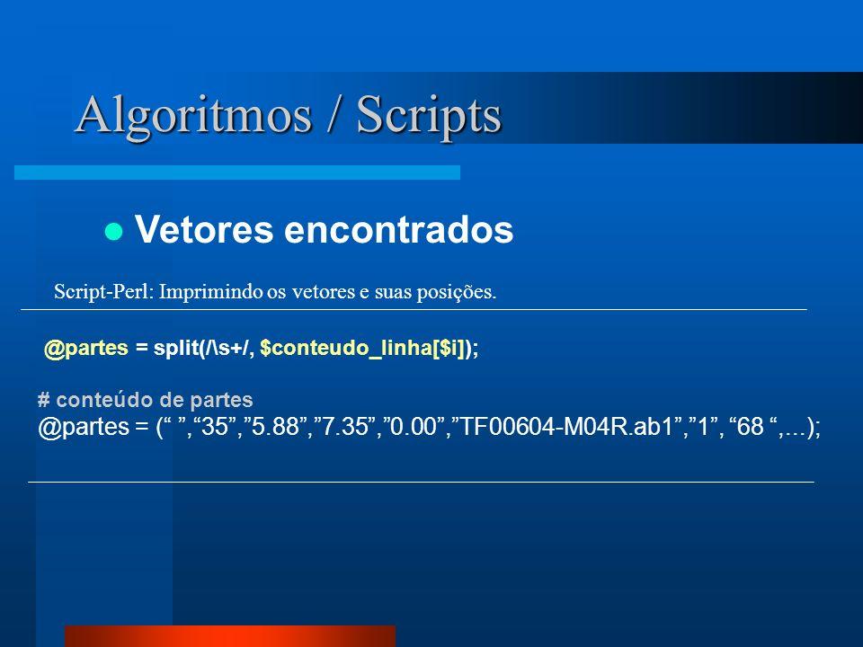 Algoritmos / Scripts Vetores encontrados @partes = split(/\s+/, $conteudo_linha[$i]); # conteúdo de partes @partes = (,35,5.88,7.35,0.00,TF00604-M04R.