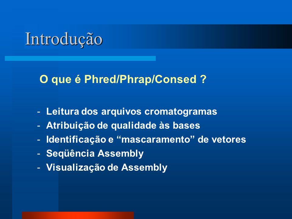 Introdução -Leitura dos arquivos cromatogramas -Atribuição de qualidade às bases -Identificação e mascaramento de vetores -Seqüência Assembly -Visuali