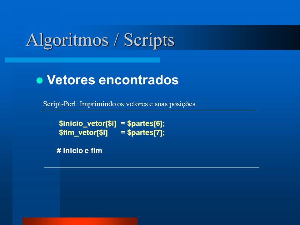 Algoritmos / Scripts Vetores encontrados $inicio_vetor[$i] = $partes[6]; $fim_vetor[$i] = $partes[7]; # inicio e fim Script-Perl: Imprimindo os vetore