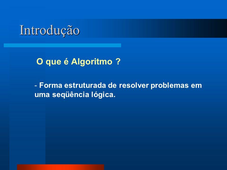 Introdução O que é Algoritmo ? - Forma estruturada de resolver problemas em uma seqüência lógica.