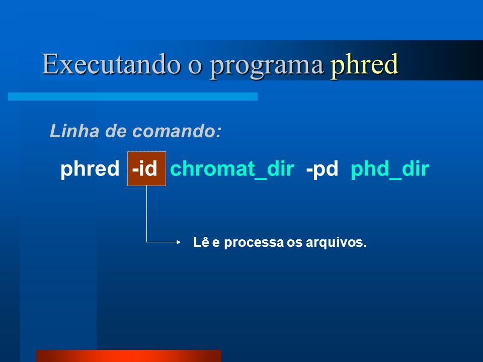 Executando o programa phred phred -id chromat_dir -pd phd_dir Lê e processa os arquivos. Linha de comando: