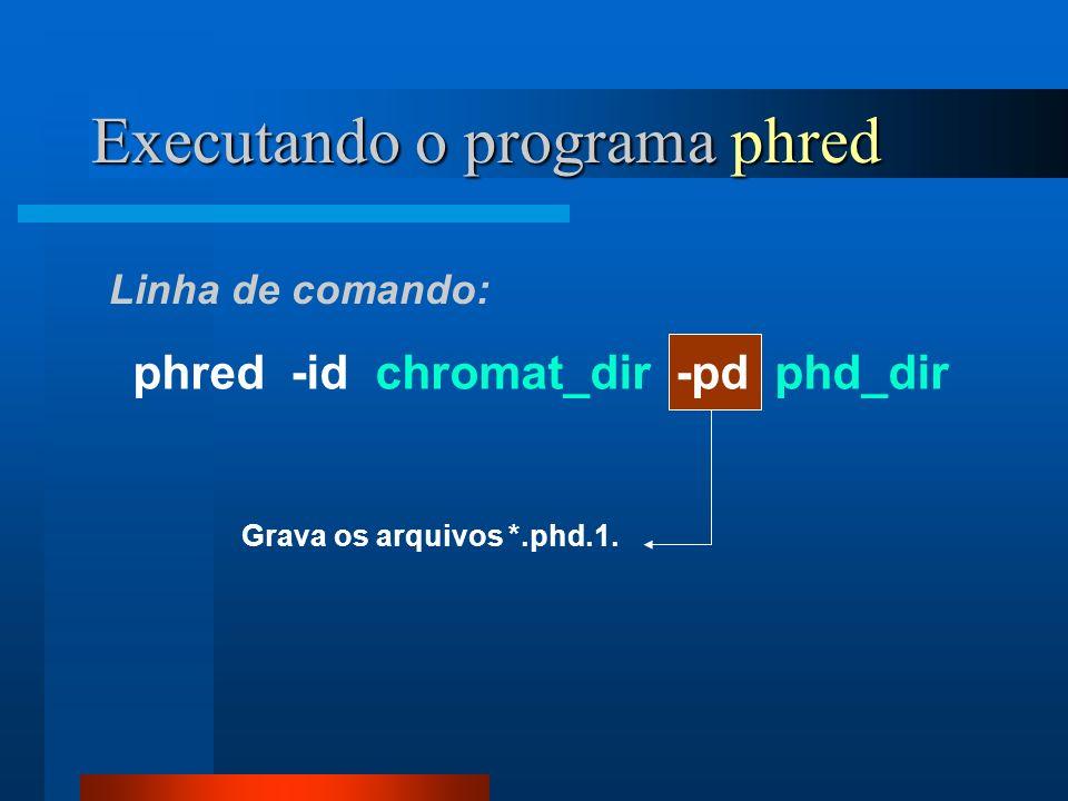Executando o programa phred Linha de comando: phred -id chromat_dir -pd phd_dir Opções: -id : Lê e processa os arquivos no diretório chromat_dir.
