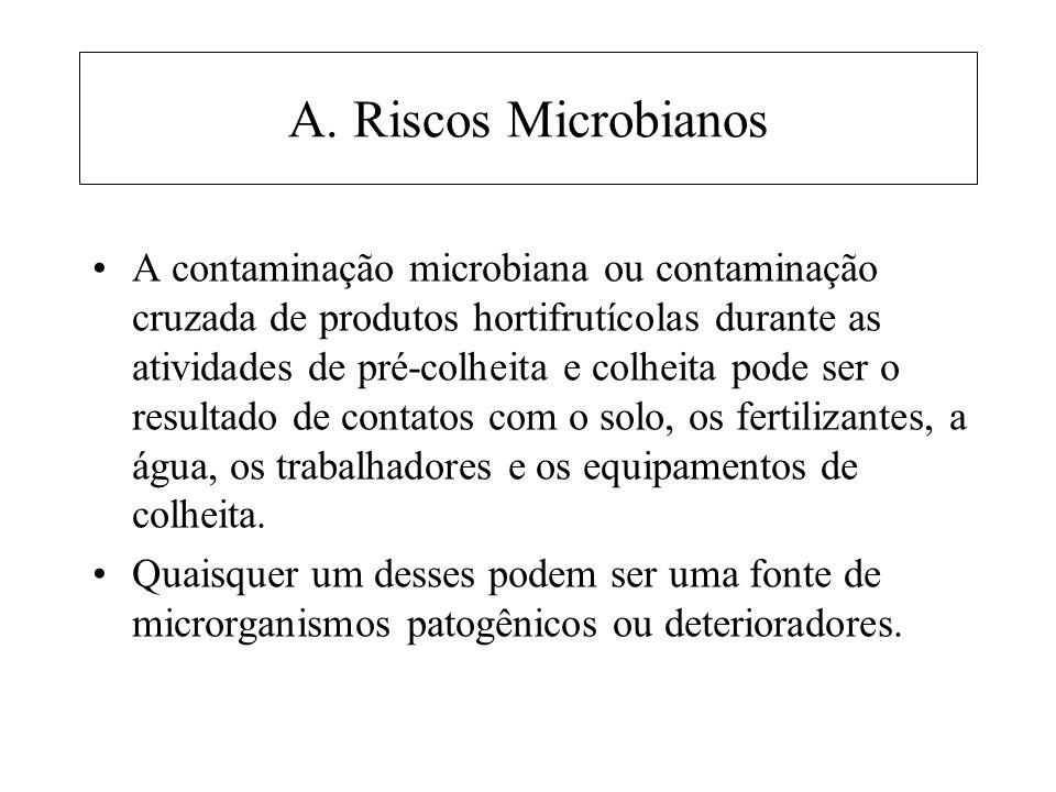 A. Riscos Microbianos A contaminação microbiana ou contaminação cruzada de produtos hortifrutícolas durante as atividades de pré-colheita e colheita p