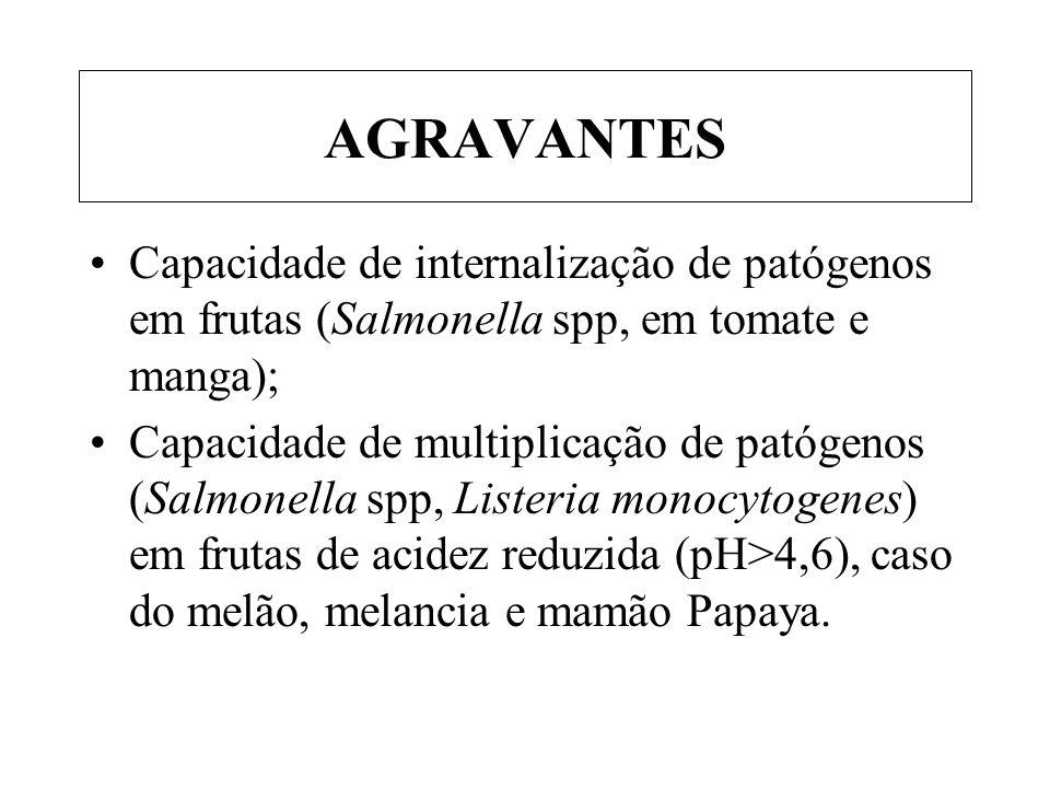 AGRAVANTES Capacidade de internalização de patógenos em frutas (Salmonella spp, em tomate e manga); Capacidade de multiplicação de patógenos (Salmonel