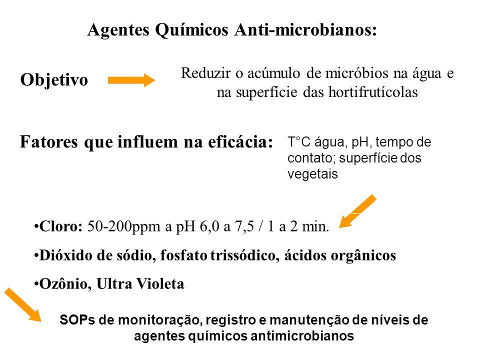 Agentes Químicos Anti-microbianos: Objetivo Reduzir o acúmulo de micróbios na água e na superfície das hortifrutícolas T°C água, pH, tempo de contato;