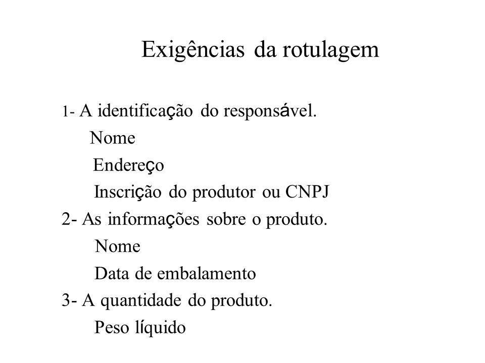 Exigências da rotulagem 1- A identifica ç ão do respons á vel. Nome Endere ç o Inscri ç ão do produtor ou CNPJ 2- As informa ç ões sobre o produto. No