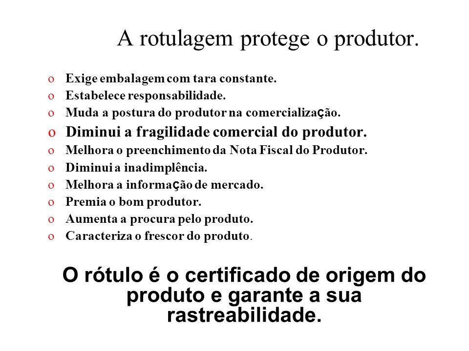 A rotulagem protege o produtor. oExige embalagem com tara constante. oEstabelece responsabilidade. oMuda a postura do produtor na comercializa ç ão. o