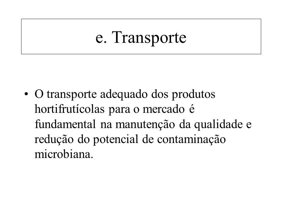 e. Transporte O transporte adequado dos produtos hortifrutícolas para o mercado é fundamental na manutenção da qualidade e redução do potencial de con