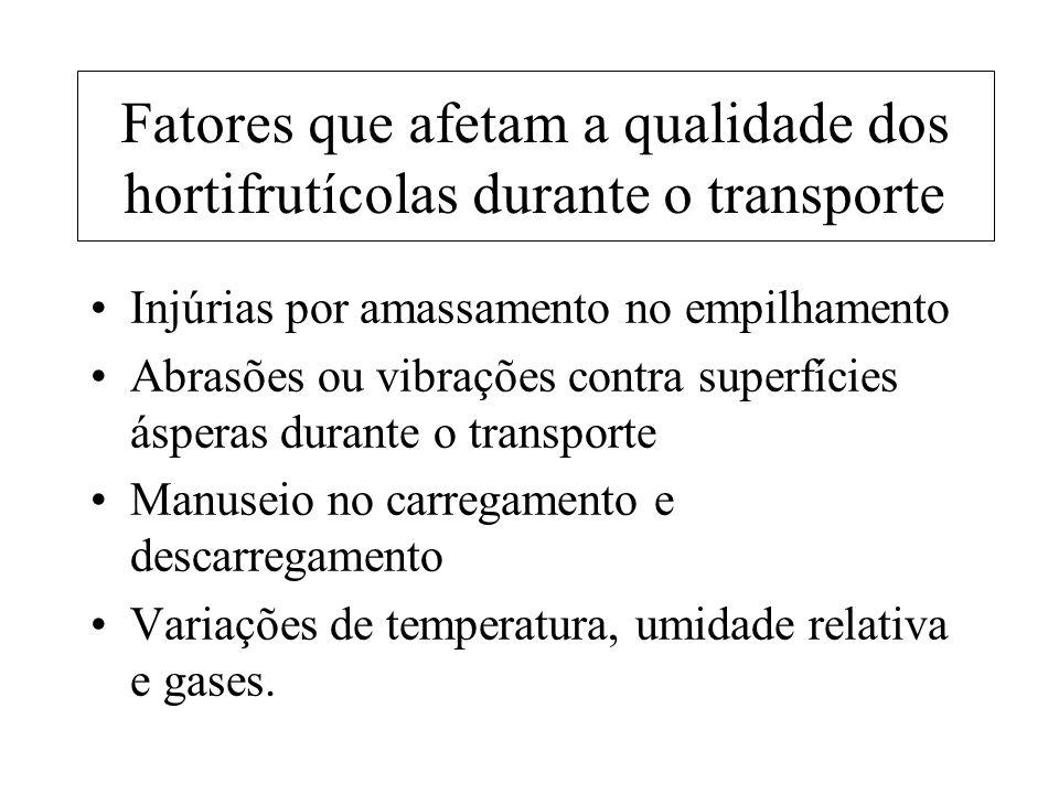 Fatores que afetam a qualidade dos hortifrutícolas durante o transporte Injúrias por amassamento no empilhamento Abrasões ou vibrações contra superfíc