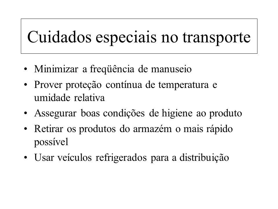Cuidados especiais no transporte Minimizar a freqüência de manuseio Prover proteção contínua de temperatura e umidade relativa Assegurar boas condiçõe
