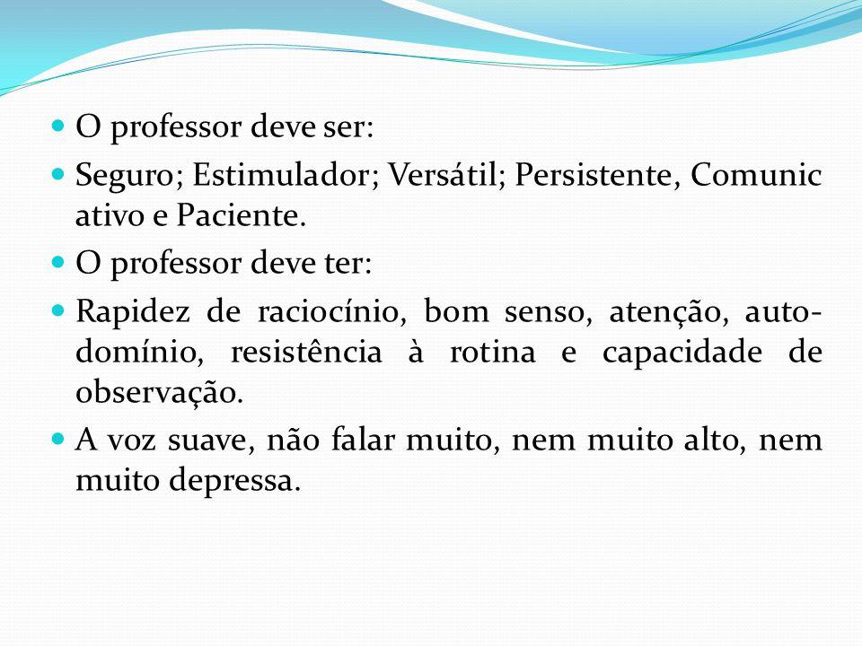 O professor deve ser: Seguro; Estimulador; Versátil; Persistente, Comunic ativo e Paciente. O professor deve ter: Rapidez de raciocínio, bom senso, at
