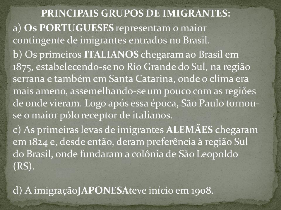 PRINCIPAIS GRUPOS DE IMIGRANTES: a) Os PORTUGUESES representam o maior contingente de imigrantes entrados no Brasil. b) Os primeiros ITALIANOS chegara