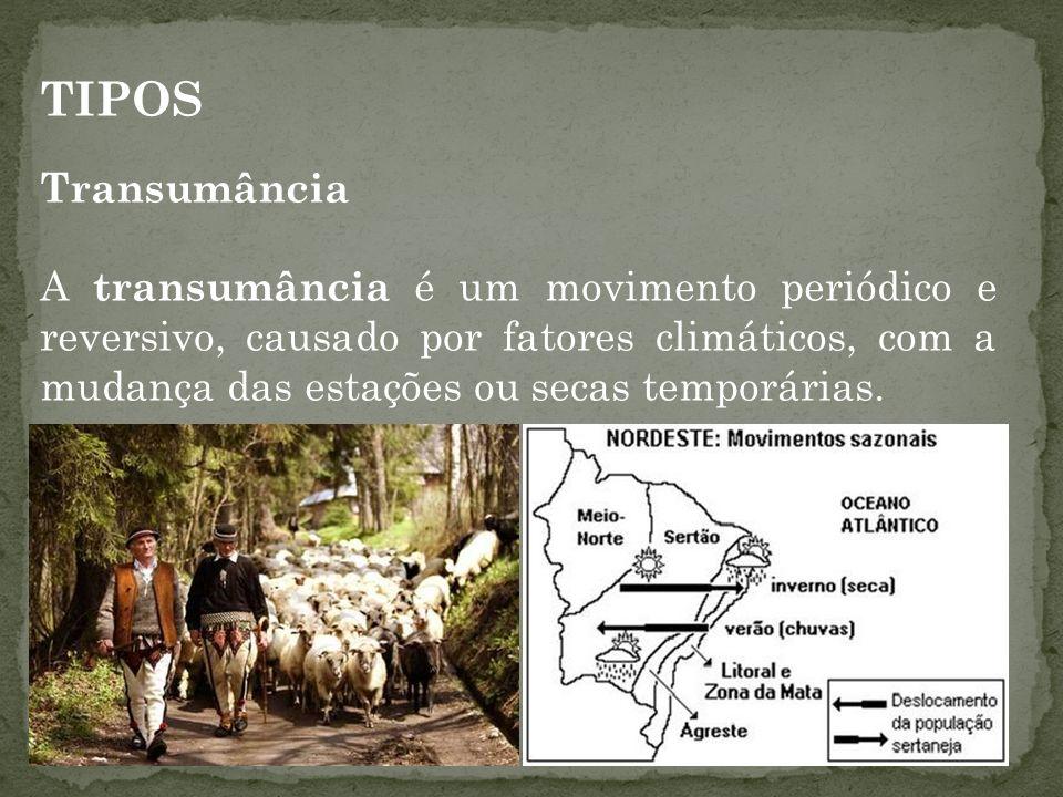 TIPOS Transumância A transumância é um movimento periódico e reversivo, causado por fatores climáticos, com a mudança das estações ou secas temporária