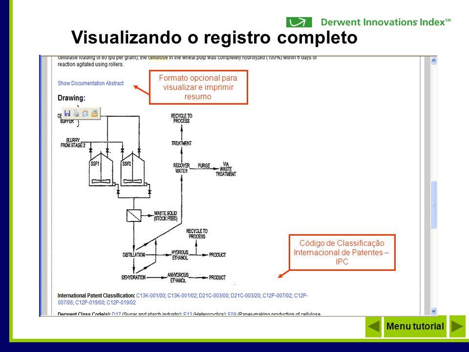 Visualizando o registro completo Menu tutorial Formato opcional para visualizar e imprimir resumo Código de Classificação Internacional de Patentes –