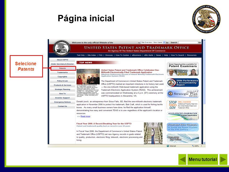Página inicial Menu tutorial Selecione Patents