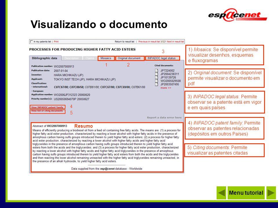 Visualizando o documento 1) Mosaics: Se disponível permite visualizar desenhos, esquemas e fluxogramas 1 2) Original document: Se disponível permite v
