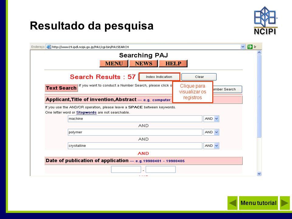 Resultado da pesquisa Clique para visualizar os registros Menu tutorial