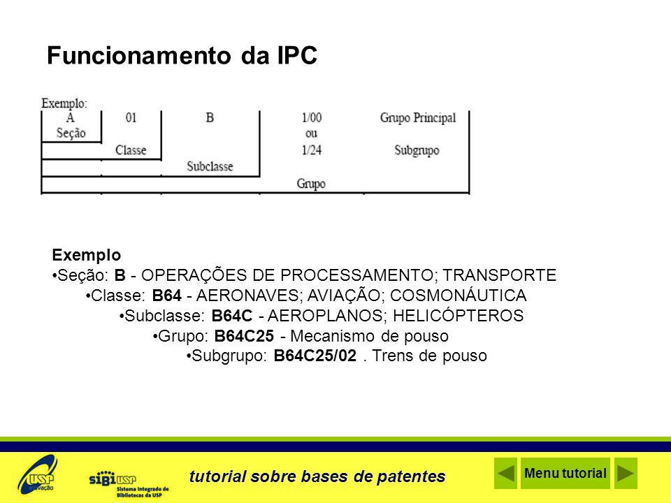 Funcionamento da IPC Exemplo Seção: B - OPERAÇÕES DE PROCESSAMENTO; TRANSPORTE Classe: B64 - AERONAVES; AVIAÇÃO; COSMONÁUTICA Subclasse: B64C - AEROPL