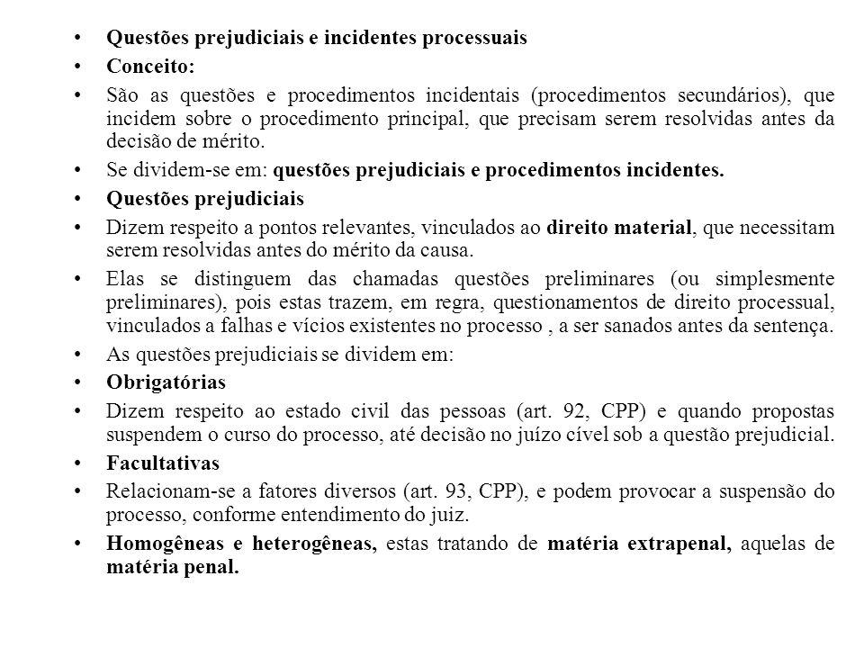 Questões prejudiciais e incidentes processuais Conceito: São as questões e procedimentos incidentais (procedimentos secundários), que incidem sobre o
