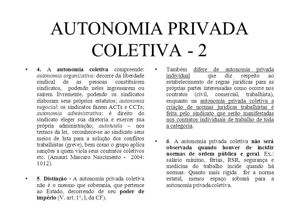 AUTONOMIA PRIVADA COLETIVA - 2 4. A autonomia coletiva compreende: autonomia organizativa: decorre da liberdade sindical de as pessoas constituírem si