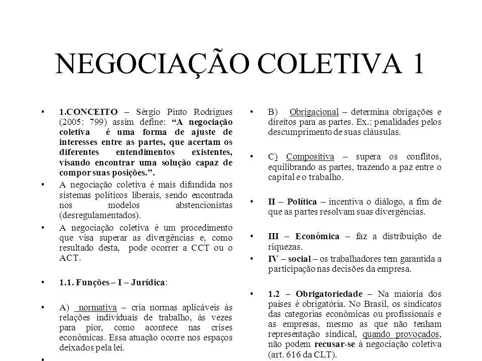NEGOCIAÇÃO COLETIVA 1 1.CONCEITO – Sérgio Pinto Rodrigues (2005: 799) assim define: A negociação coletiva é uma forma de ajuste de interesses entre as partes, que acertam os diferentes entendimentos existentes, visando encontrar uma solução capaz de compor suas posições..